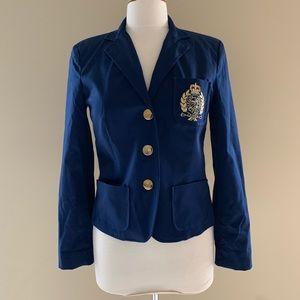 NWOT Ralph Lauren Crest Blazer Blue Cotton Small